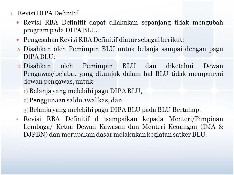 Revisi DIPA Definitif Revisi RBA Definitif dapat dilakukan sepanjang tidak mengubah program pada DIPA BLU.