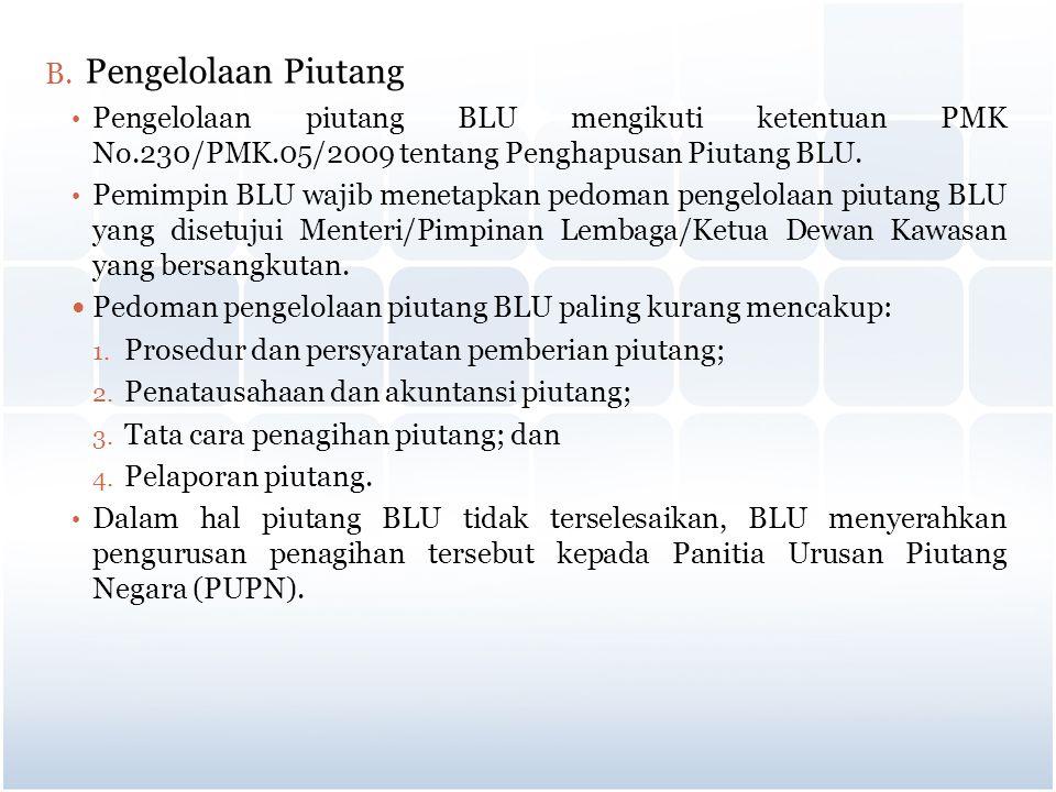 Pengelolaan Piutang Pengelolaan piutang BLU mengikuti ketentuan PMK No.230/PMK.05/2009 tentang Penghapusan Piutang BLU.