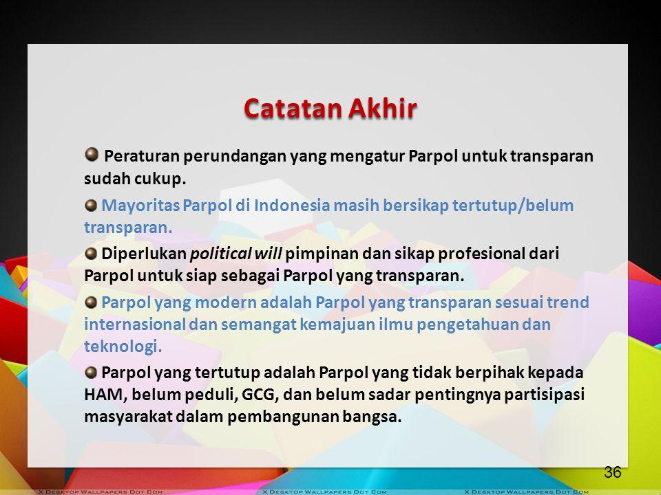 Catatan Akhir Peraturan perundangan yang mengatur Parpol untuk transparan sudah cukup.