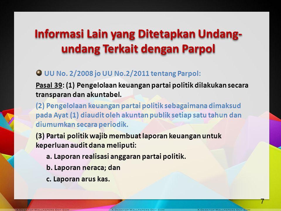 Informasi Lain yang Ditetapkan Undang-undang Terkait dengan Parpol