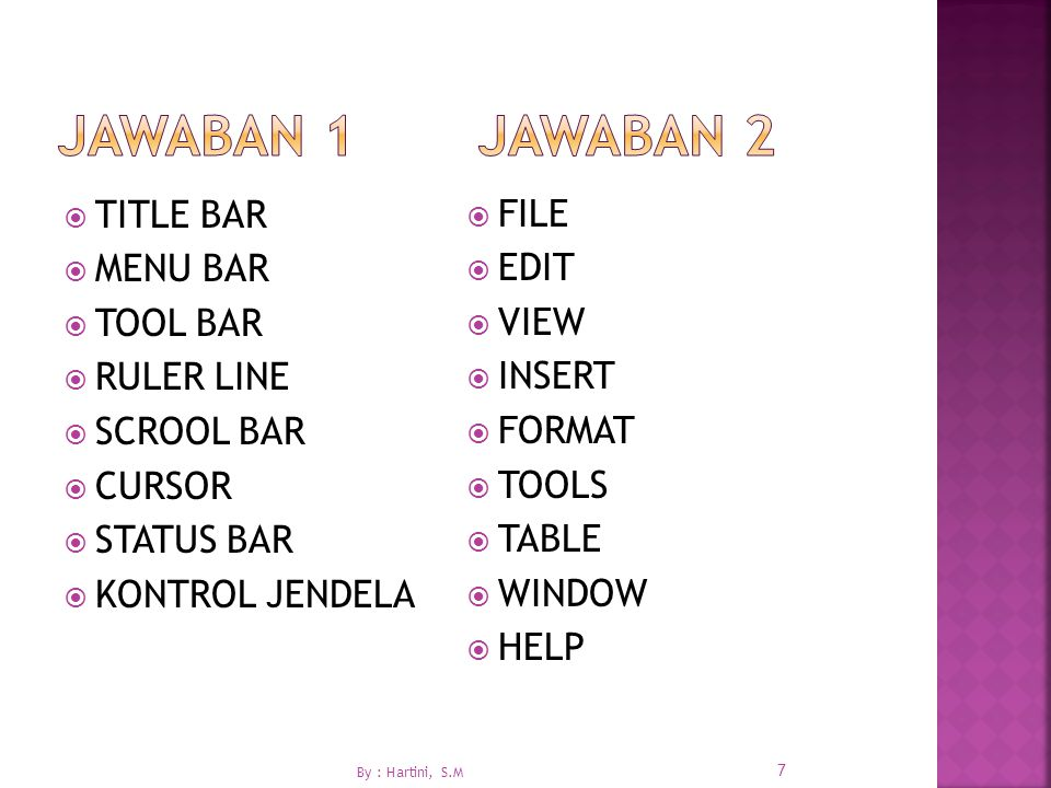 JAWABAN 1 JAWABAN 2 TITLE BAR FILE MENU BAR EDIT TOOL BAR VIEW