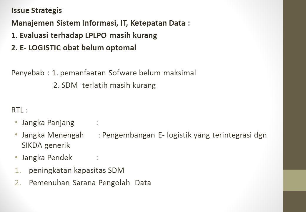 Issue Strategis Manajemen Sistem Informasi, IT, Ketepatan Data : 1. Evaluasi terhadap LPLPO masih kurang.