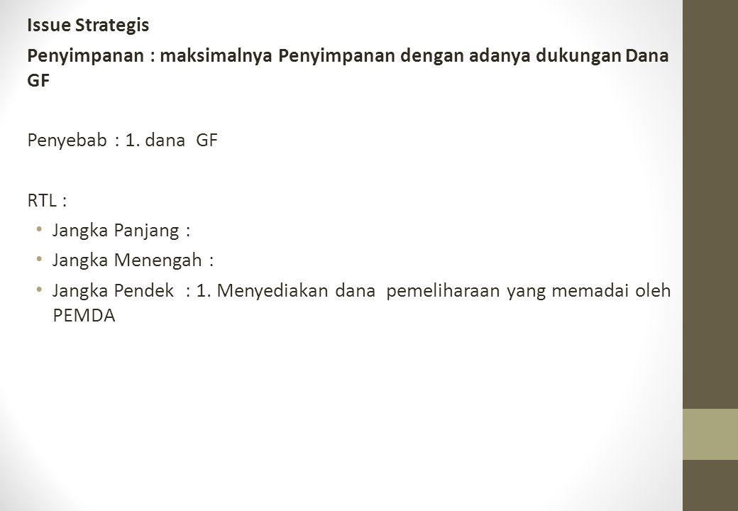 Issue Strategis Penyimpanan : maksimalnya Penyimpanan dengan adanya dukungan Dana GF. Penyebab : 1. dana GF.