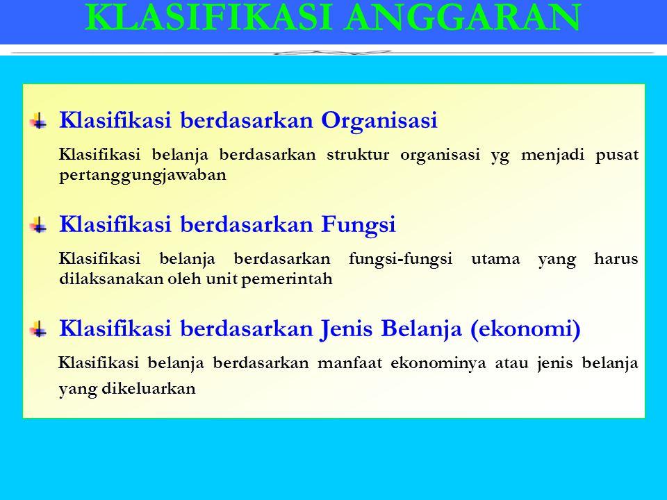 KLASIFIKASI ANGGARAN Klasifikasi berdasarkan Organisasi