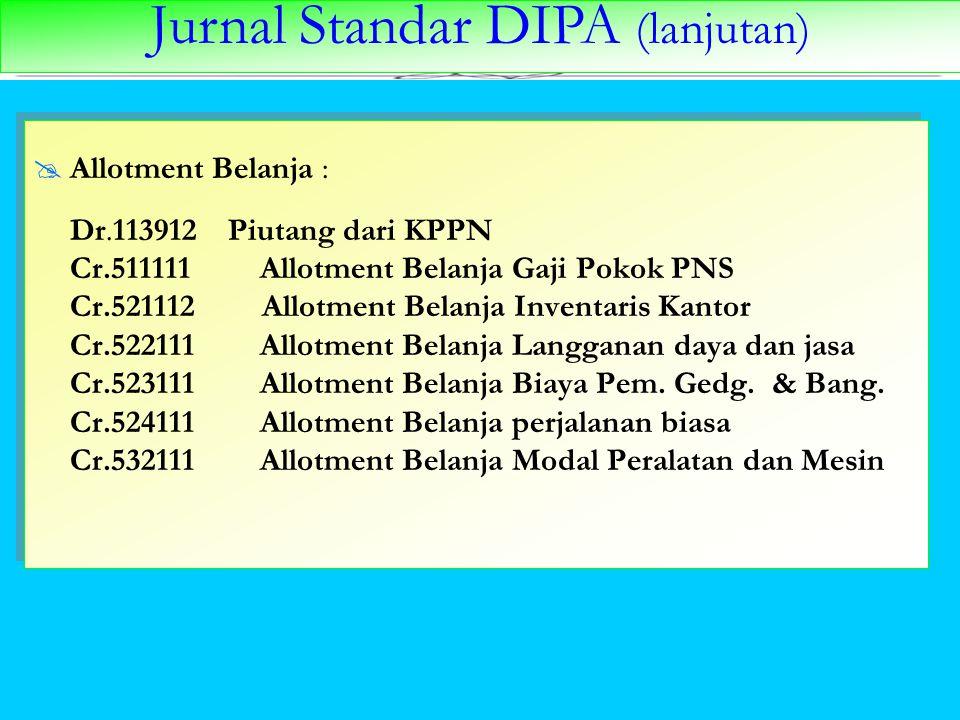 Jurnal Standar DIPA (lanjutan)