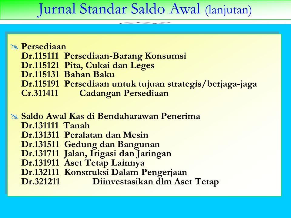 Jurnal Standar Saldo Awal (lanjutan)