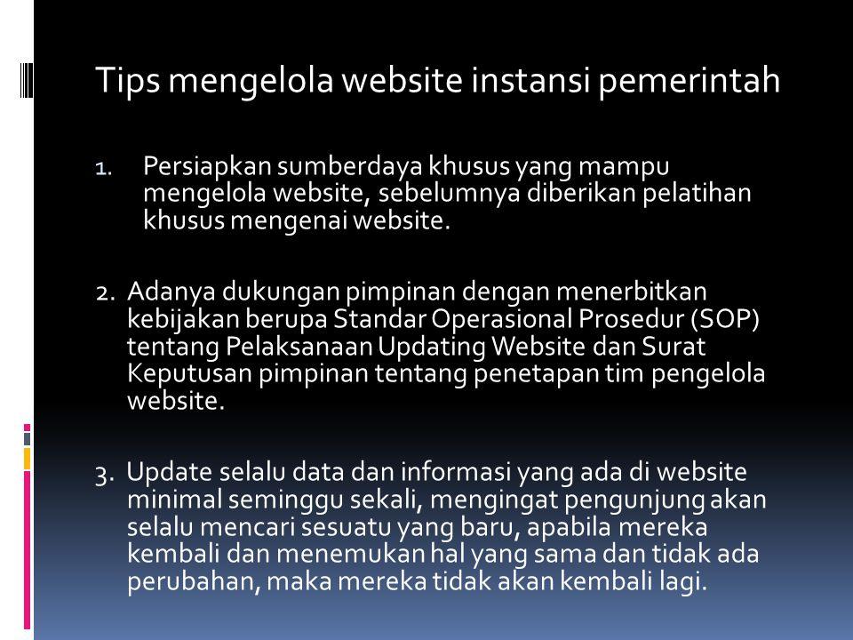 Tips mengelola website instansi pemerintah