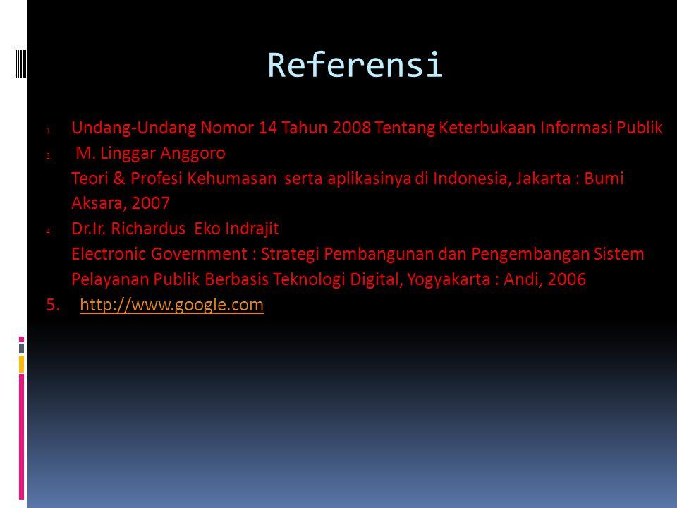 Referensi Undang-Undang Nomor 14 Tahun 2008 Tentang Keterbukaan Informasi Publik. M. Linggar Anggoro.