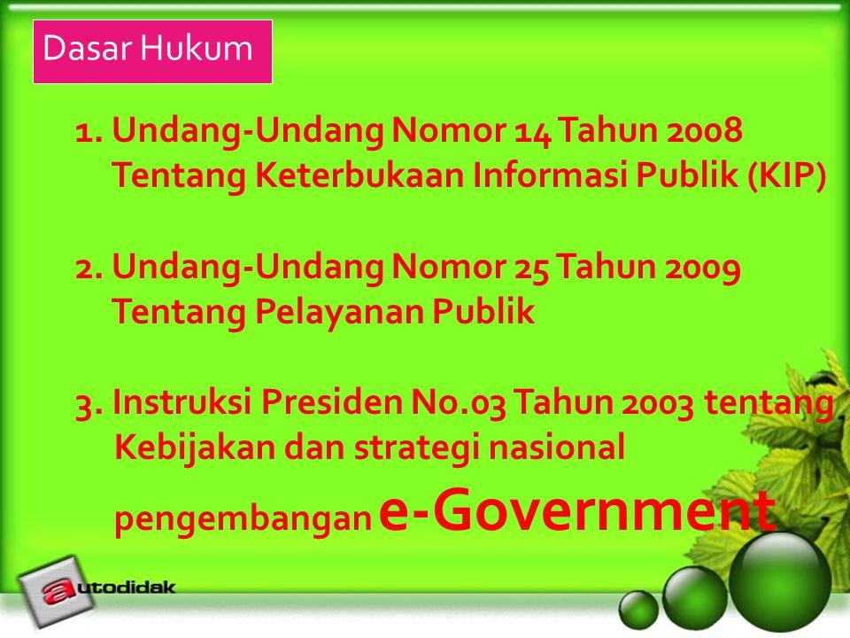 Dasar Hukum 1. Undang-Undang Nomor 14 Tahun 2008. Tentang Keterbukaan Informasi Publik (KIP) 2. Undang-Undang Nomor 25 Tahun 2009.