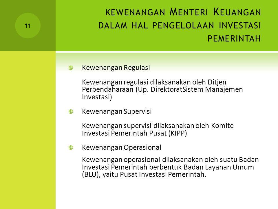 kewenangan Menteri Keuangan dalam hal pengelolaan investasi pemerintah
