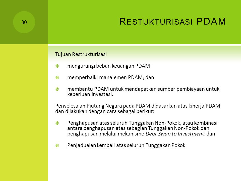 Restukturisasi PDAM Tujuan Restrukturisasi
