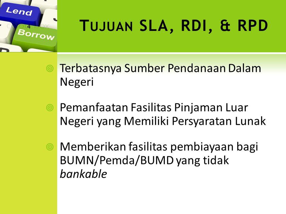 Tujuan SLA, RDI, & RPD Terbatasnya Sumber Pendanaan Dalam Negeri