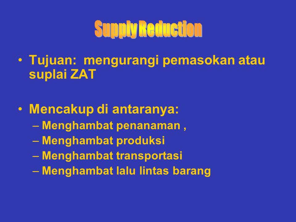 Supply Reduction Tujuan: mengurangi pemasokan atau suplai ZAT