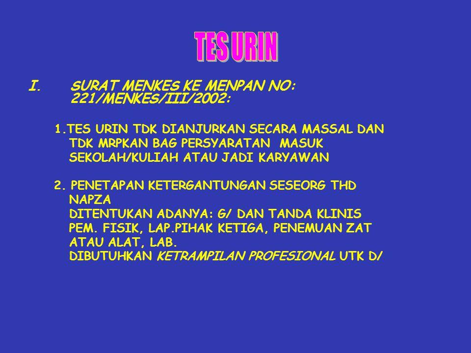TES URIN SURAT MENKES KE MENPAN NO: 221/MENKES/III/2002: