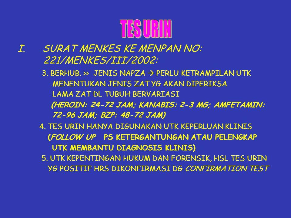 TES URIN I. SURAT MENKES KE MENPAN NO: 221/MENKES/III/2002: