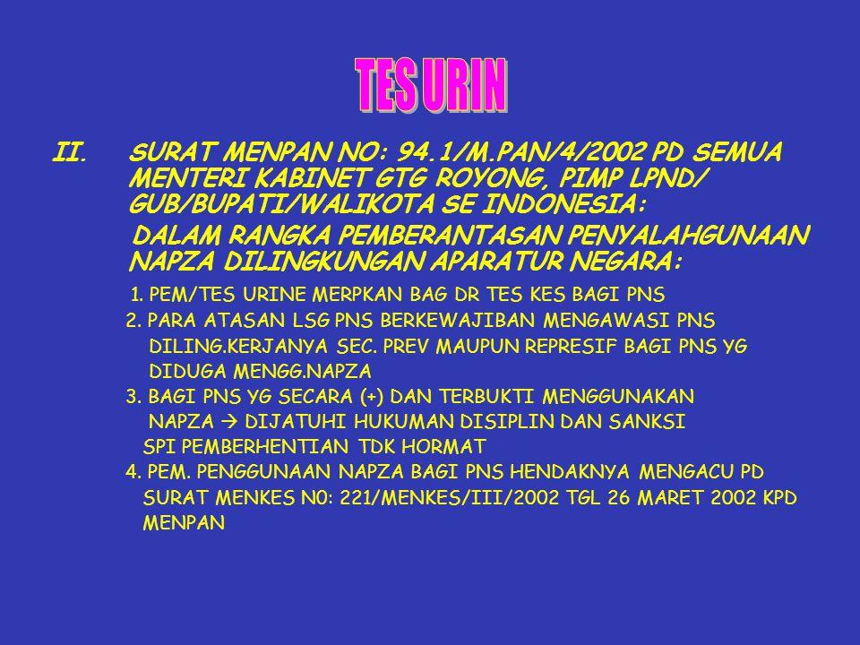 TES URIN SURAT MENPAN NO: 94.1/M.PAN/4/2002 PD SEMUA MENTERI KABINET GTG ROYONG, PIMP LPND/ GUB/BUPATI/WALIKOTA SE INDONESIA: