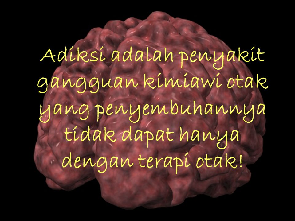 Adiksi adalah penyakit gangguan kimiawi otak yang penyembuhannya tidak dapat hanya dengan terapi otak!
