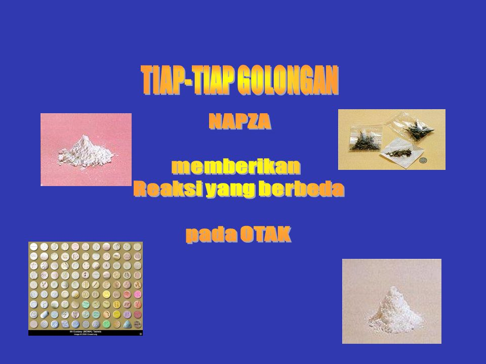TIAP-TIAP GOLONGAN NAPZA memberikan Reaksi yang berbeda pada OTAK