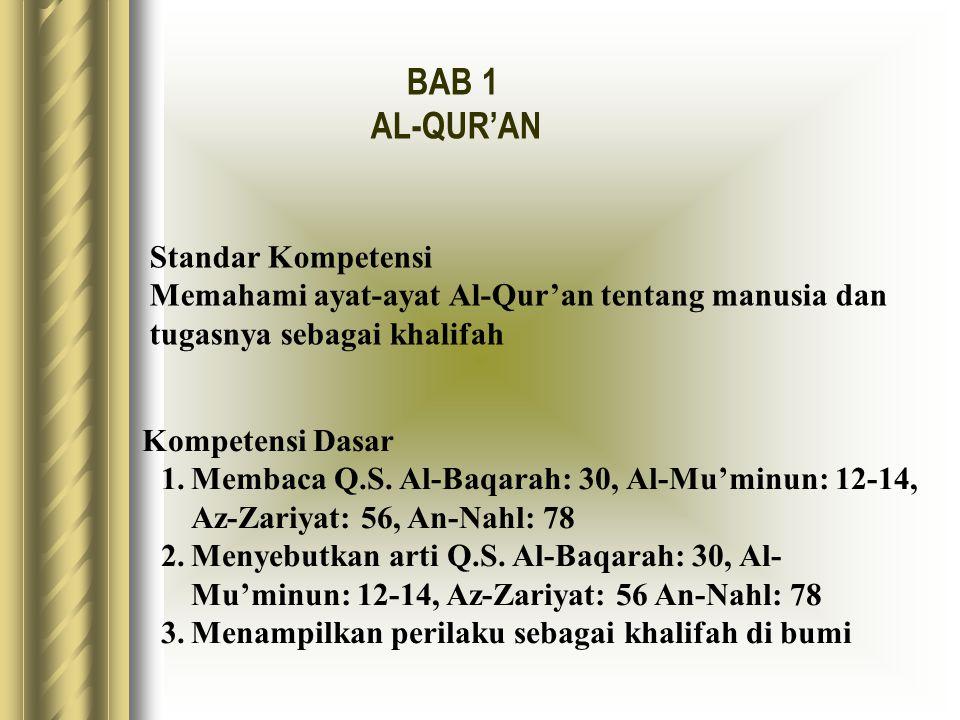 BAB 1 AL-QUR'AN Standar Kompetensi