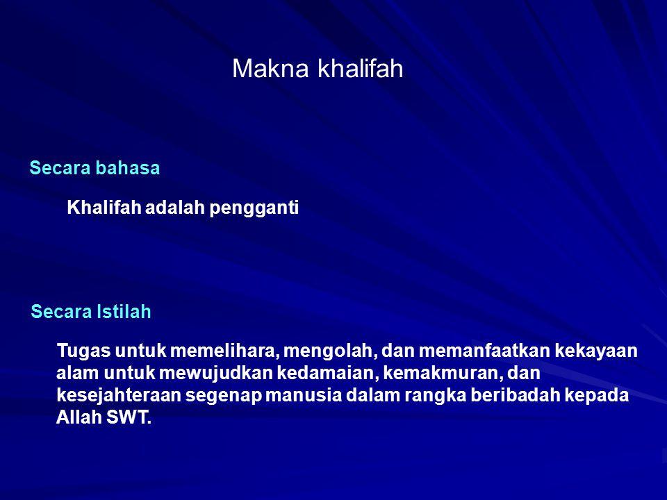 Makna khalifah Secara bahasa Khalifah adalah pengganti Secara Istilah