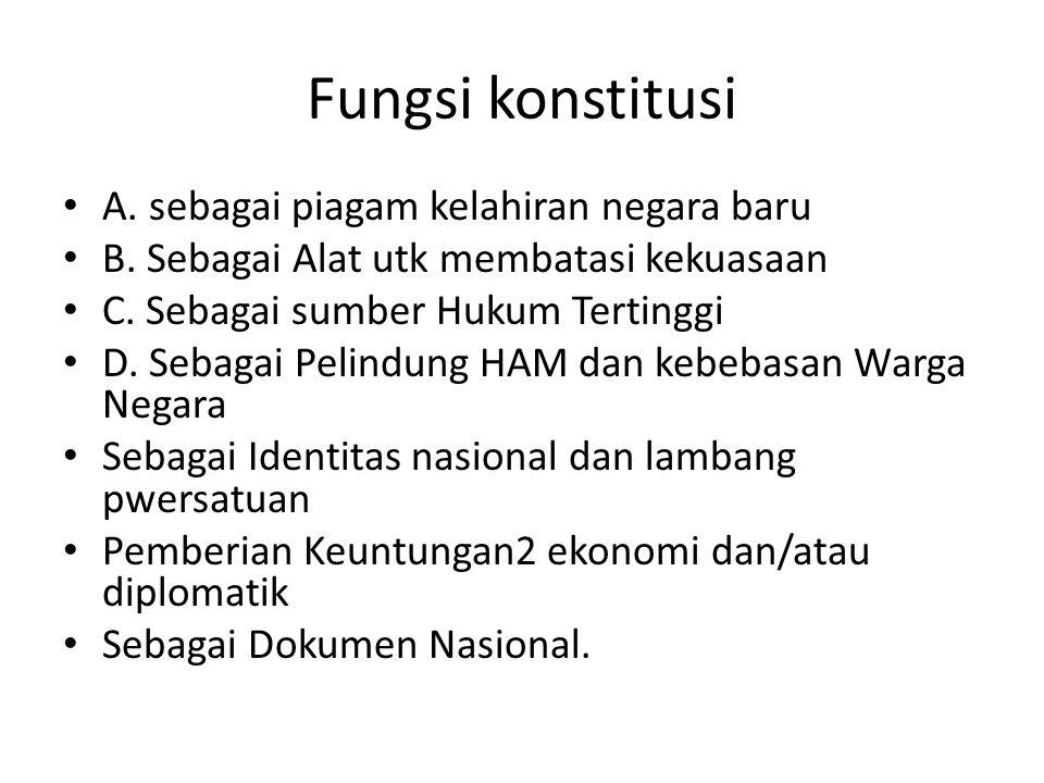 Fungsi konstitusi A. sebagai piagam kelahiran negara baru