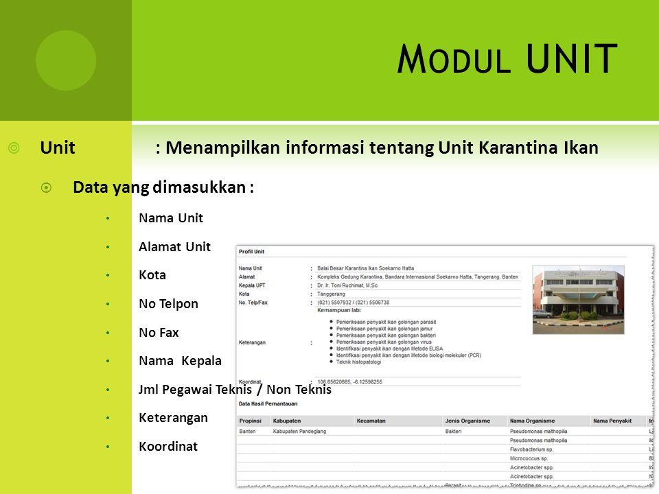 Modul UNIT Unit : Menampilkan informasi tentang Unit Karantina Ikan