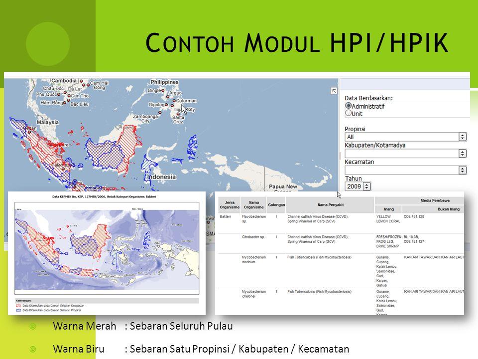 Contoh Modul HPI/HPIK Warna Merah : Sebaran Seluruh Pulau