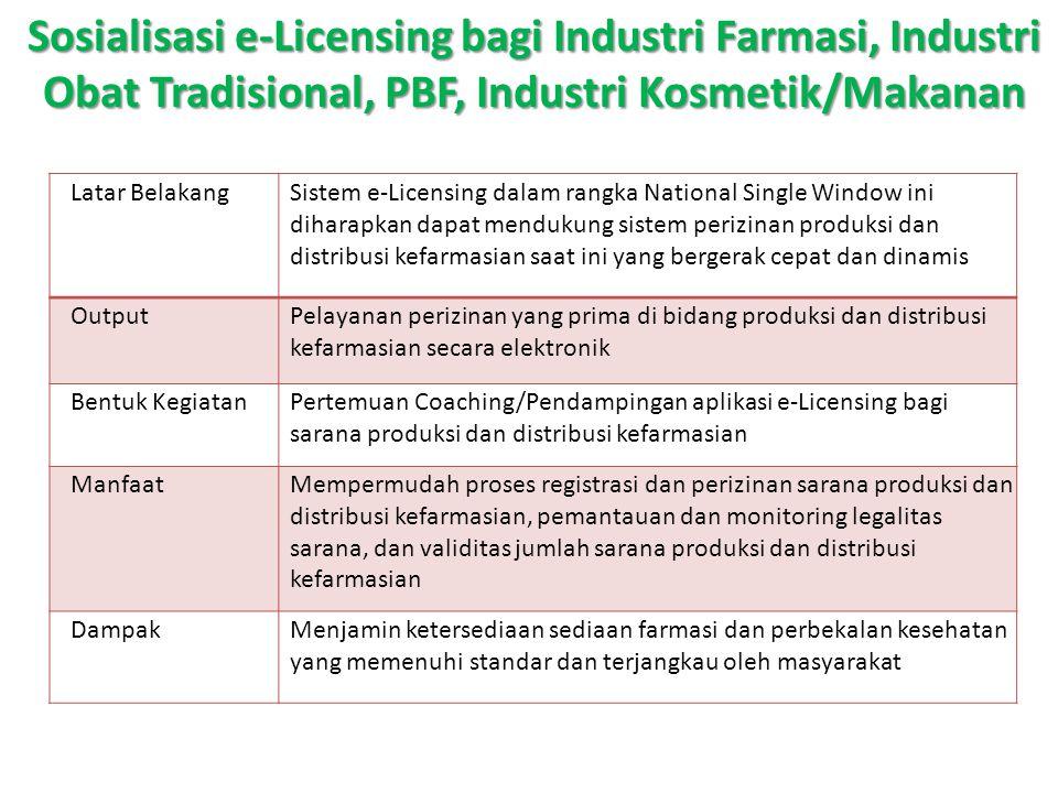 Sosialisasi e-Licensing bagi Industri Farmasi, Industri Obat Tradisional, PBF, Industri Kosmetik/Makanan