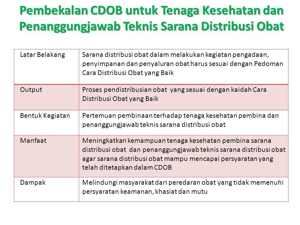 Pembekalan CDOB untuk Tenaga Kesehatan dan Penanggungjawab Teknis Sarana Distribusi Obat