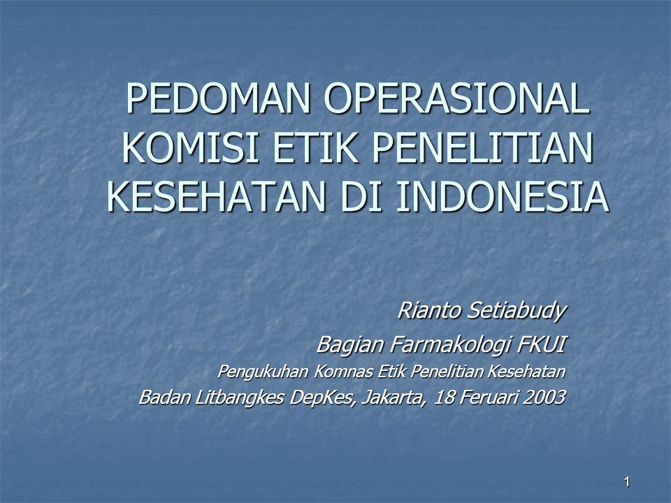 PEDOMAN OPERASIONAL KOMISI ETIK PENELITIAN KESEHATAN DI INDONESIA