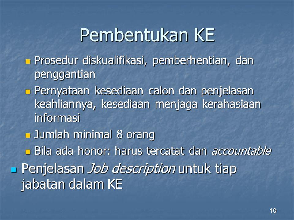 Pembentukan KE Penjelasan Job description untuk tiap jabatan dalam KE
