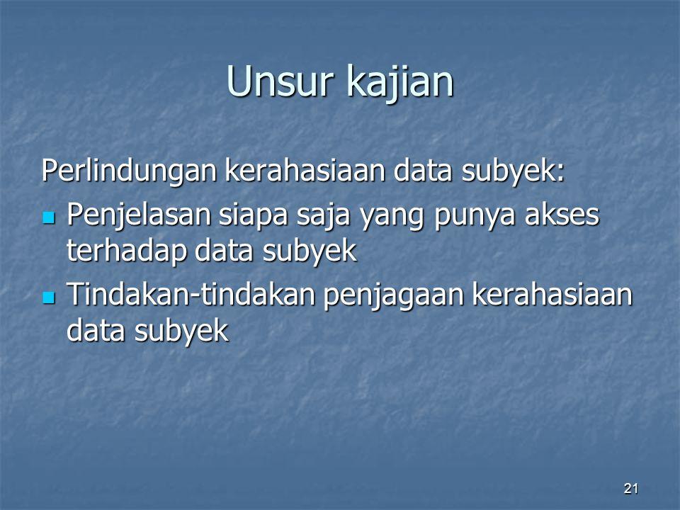 Unsur kajian Perlindungan kerahasiaan data subyek: