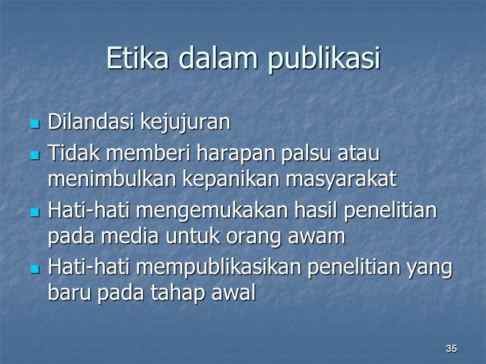Etika dalam publikasi Dilandasi kejujuran
