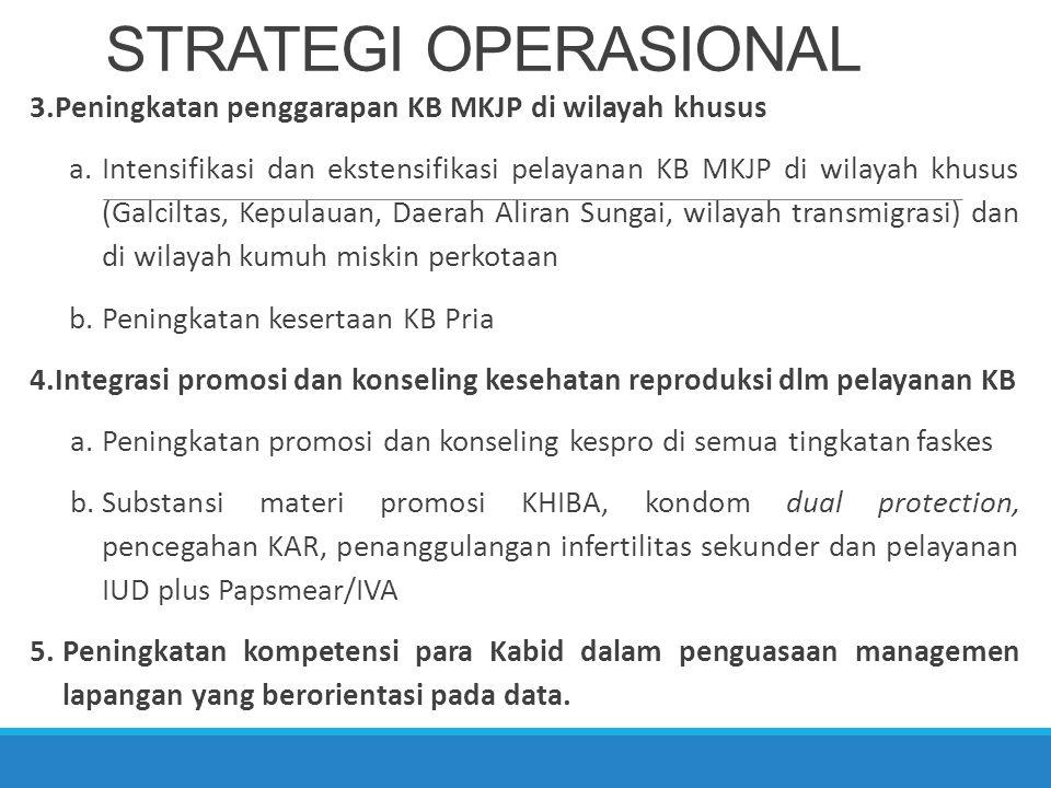 STRATEGI OPERASIONAL Peningkatan penggarapan KB MKJP di wilayah khusus