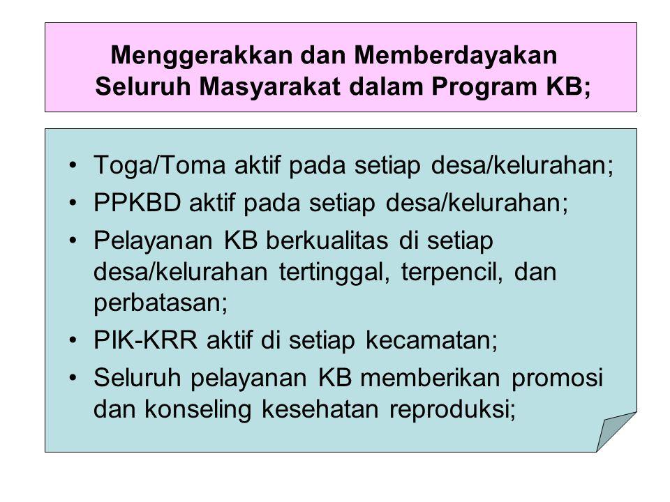 Menggerakkan dan Memberdayakan Seluruh Masyarakat dalam Program KB;