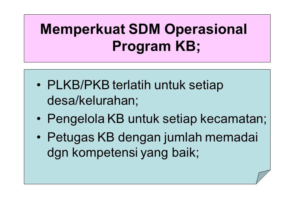 Memperkuat SDM Operasional Program KB;