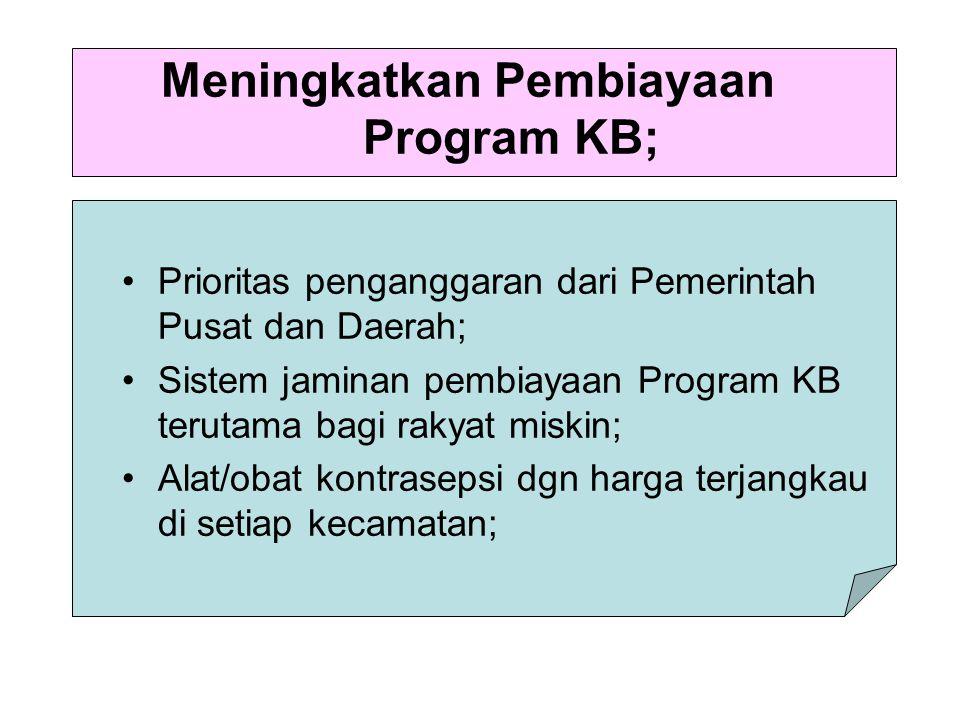 Meningkatkan Pembiayaan Program KB;