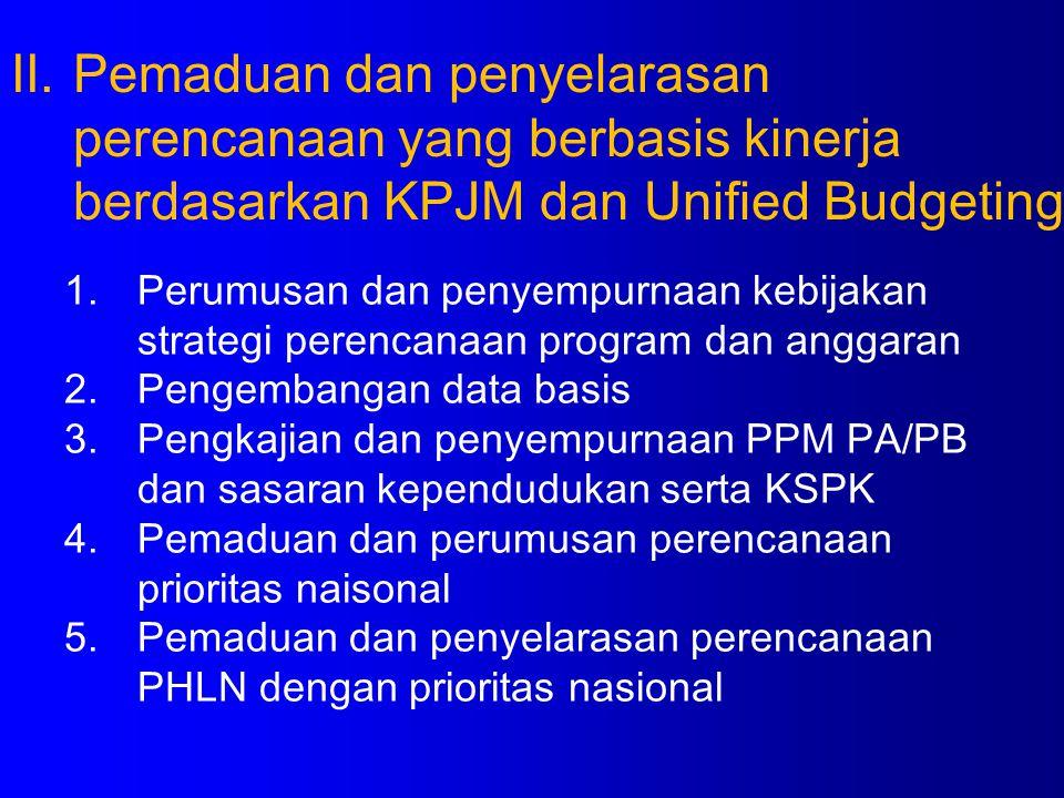 Pemaduan dan penyelarasan perencanaan yang berbasis kinerja berdasarkan KPJM dan Unified Budgeting
