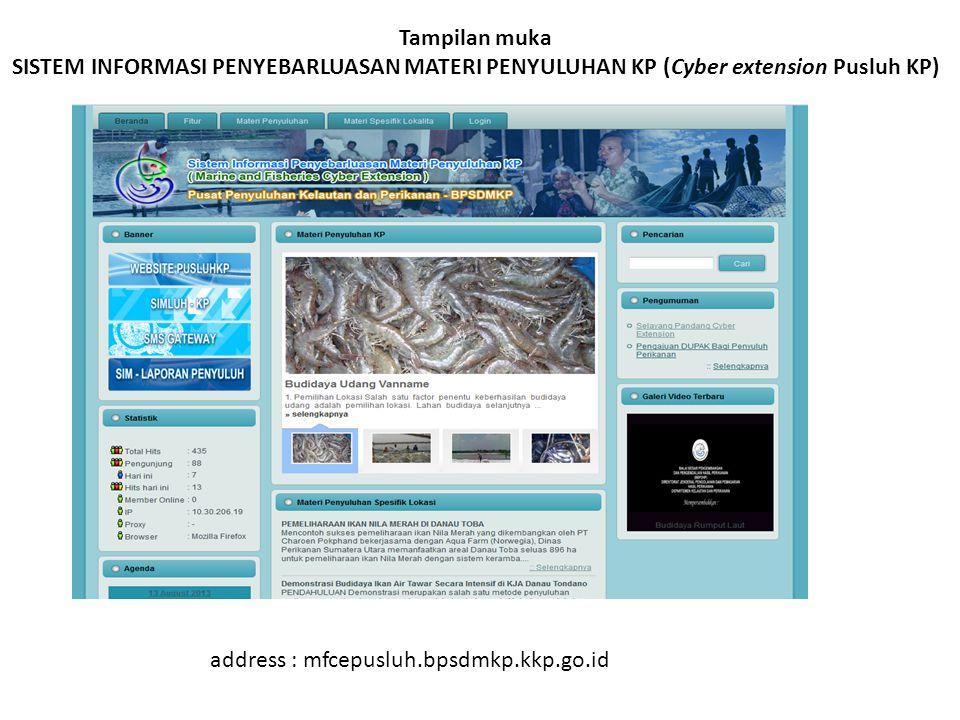 Tampilan muka SISTEM INFORMASI PENYEBARLUASAN MATERI PENYULUHAN KP (Cyber extension Pusluh KP)