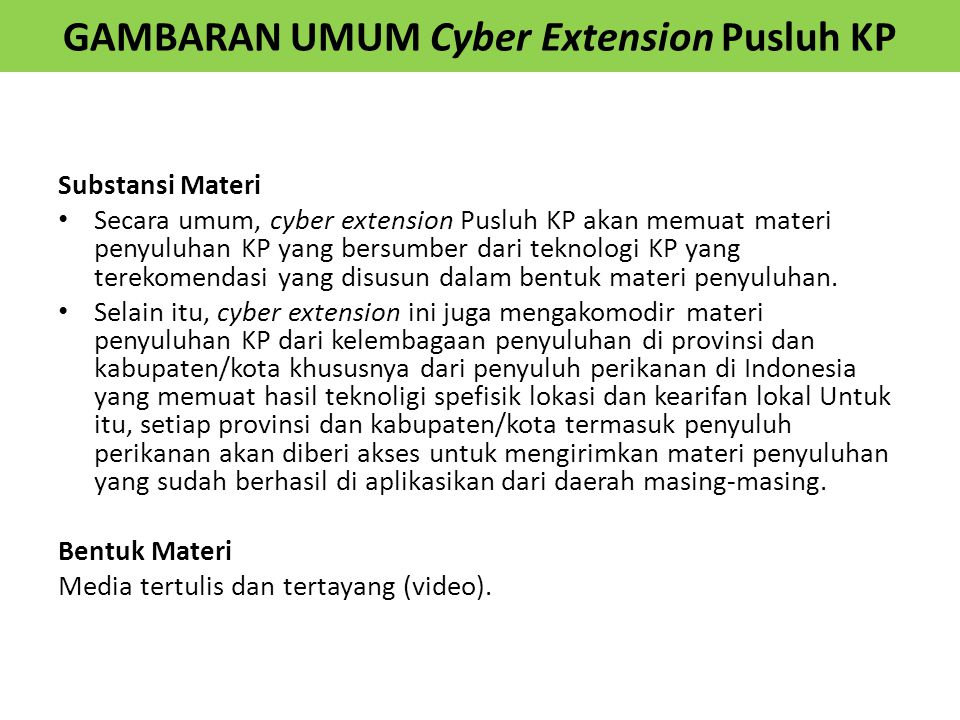 GAMBARAN UMUM Cyber Extension Pusluh KP