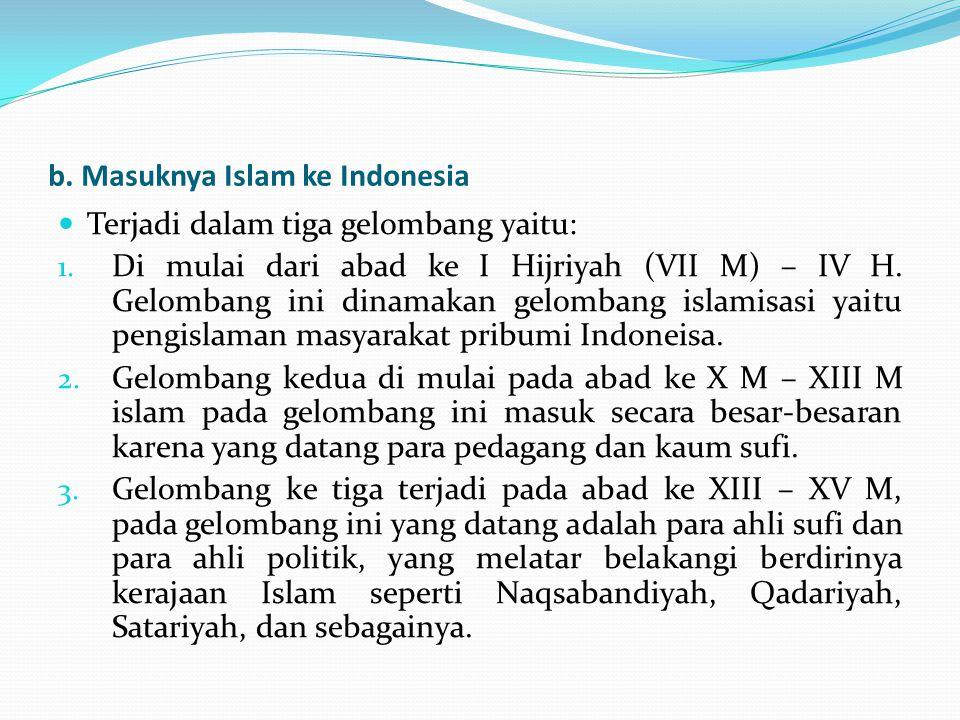 b. Masuknya Islam ke Indonesia