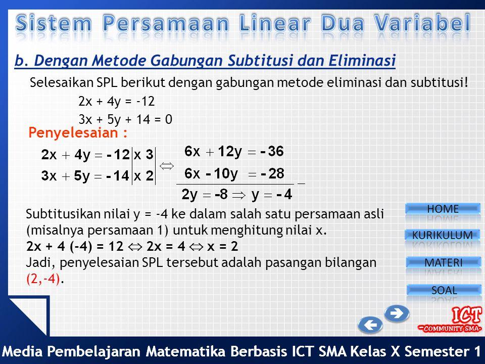 b. Dengan Metode Gabungan Subtitusi dan Eliminasi