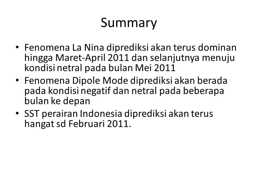 Summary Fenomena La Nina diprediksi akan terus dominan hingga Maret-April 2011 dan selanjutnya menuju kondisi netral pada bulan Mei 2011.