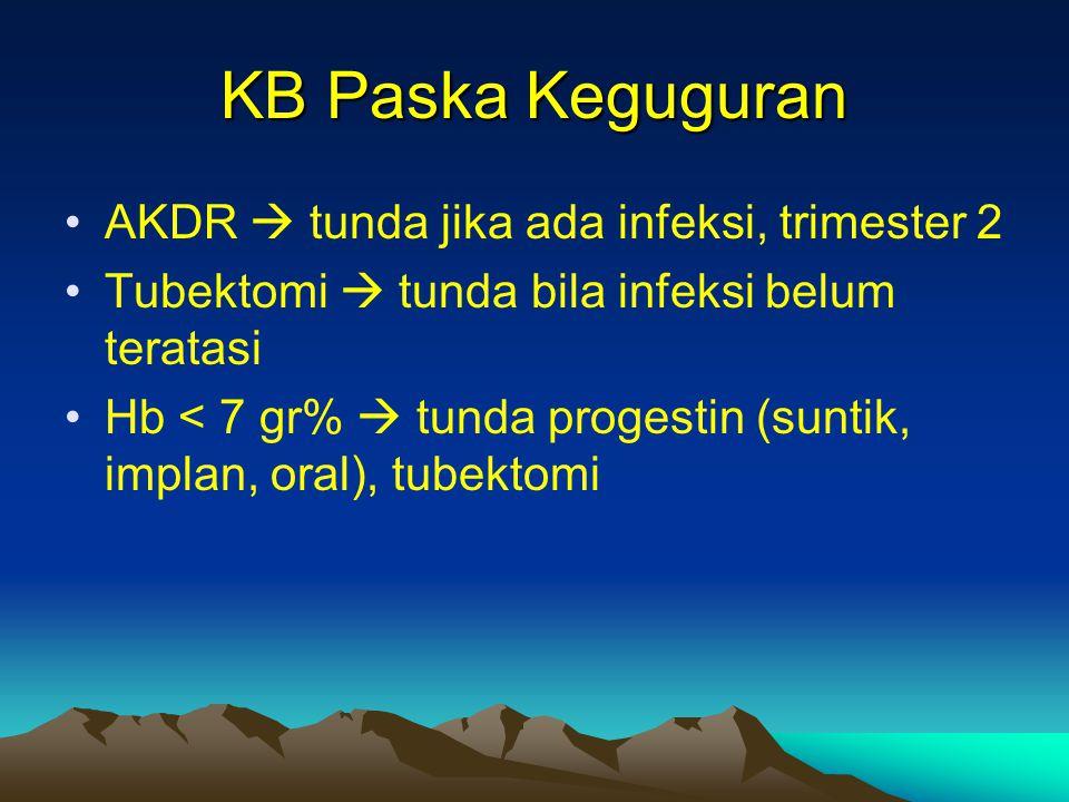 KB Paska Keguguran AKDR  tunda jika ada infeksi, trimester 2