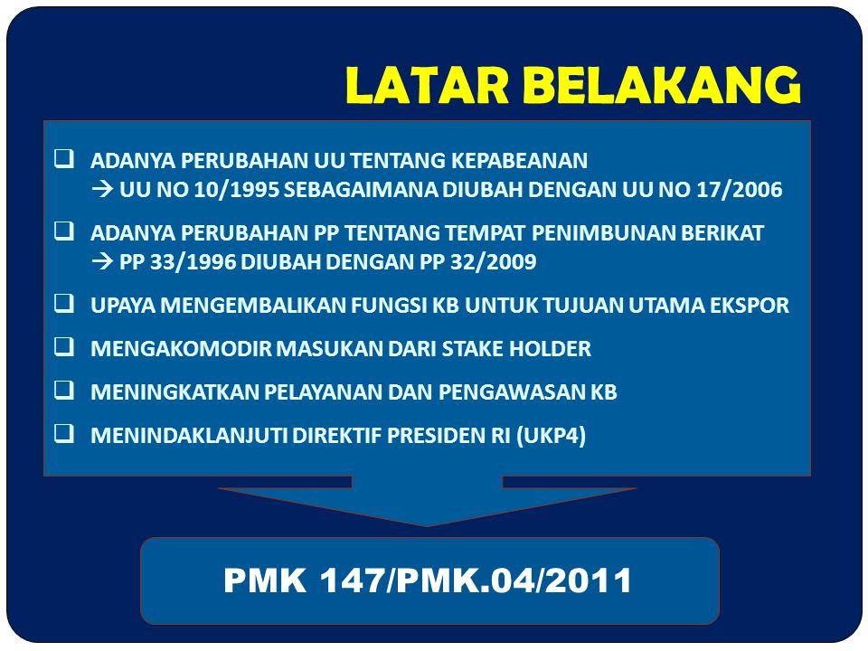 LATAR BELAKANG PMK 147/PMK.04/2011