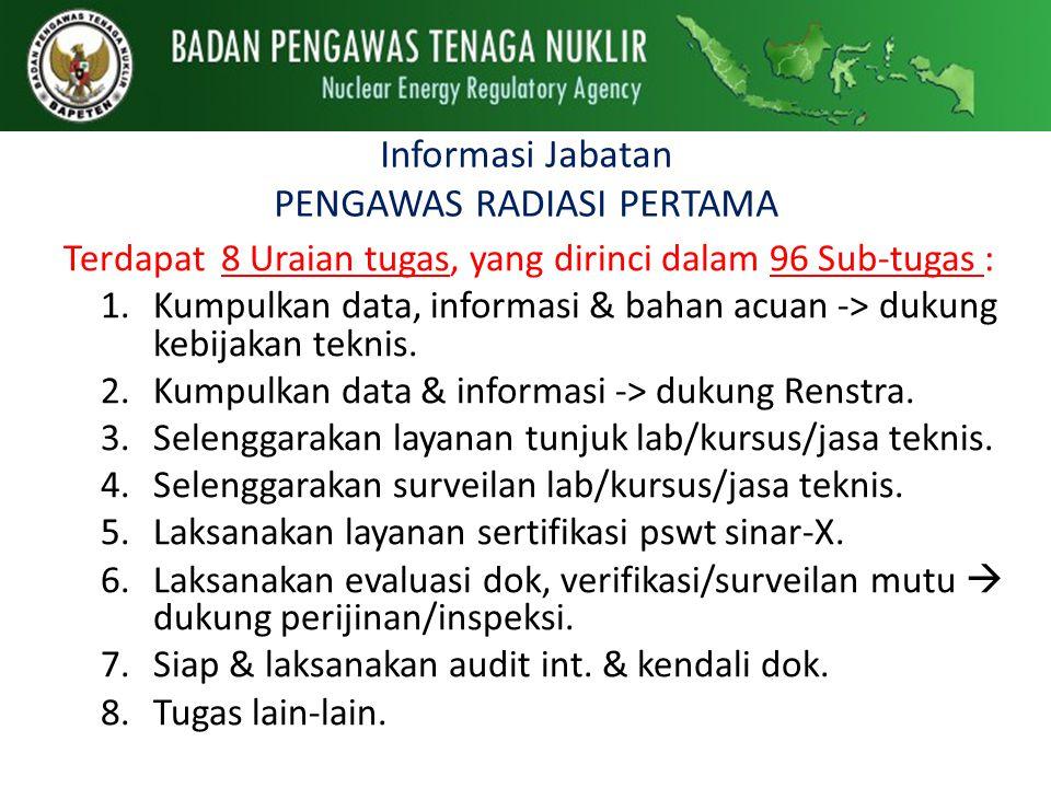 Informasi Jabatan PENGAWAS RADIASI PERTAMA
