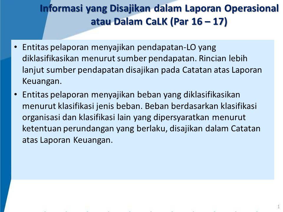 Informasi yang Disajikan dalam Laporan Operasional atau Dalam CaLK (Par 16 – 17)
