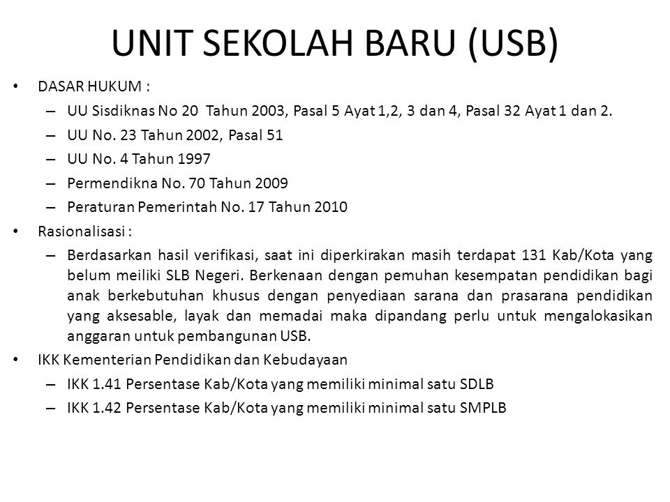 UNIT SEKOLAH BARU (USB)