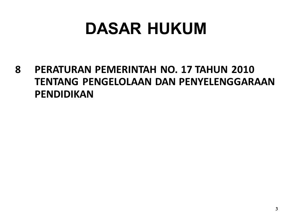 DASAR HUKUM 8 PERATURAN PEMERINTAH NO. 17 TAHUN 2010 TENTANG PENGELOLAAN DAN PENYELENGGARAAN PENDIDIKAN.