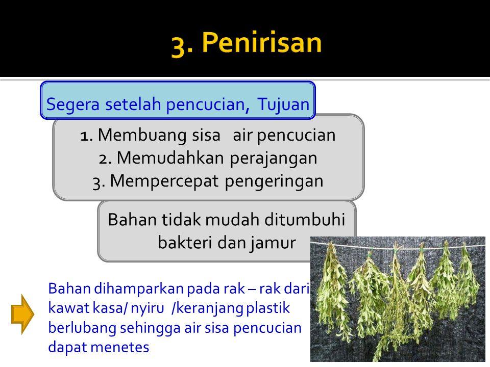 3. Penirisan Segera setelah pencucian, Tujuan